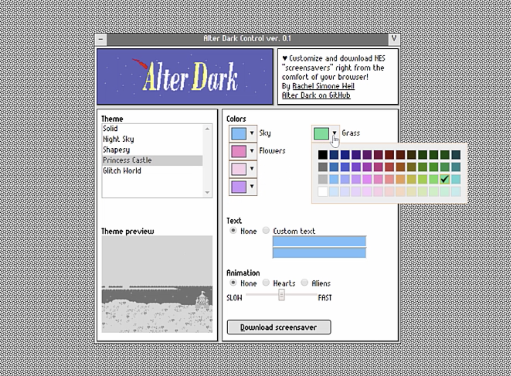 Screenshot of Alter Dark website