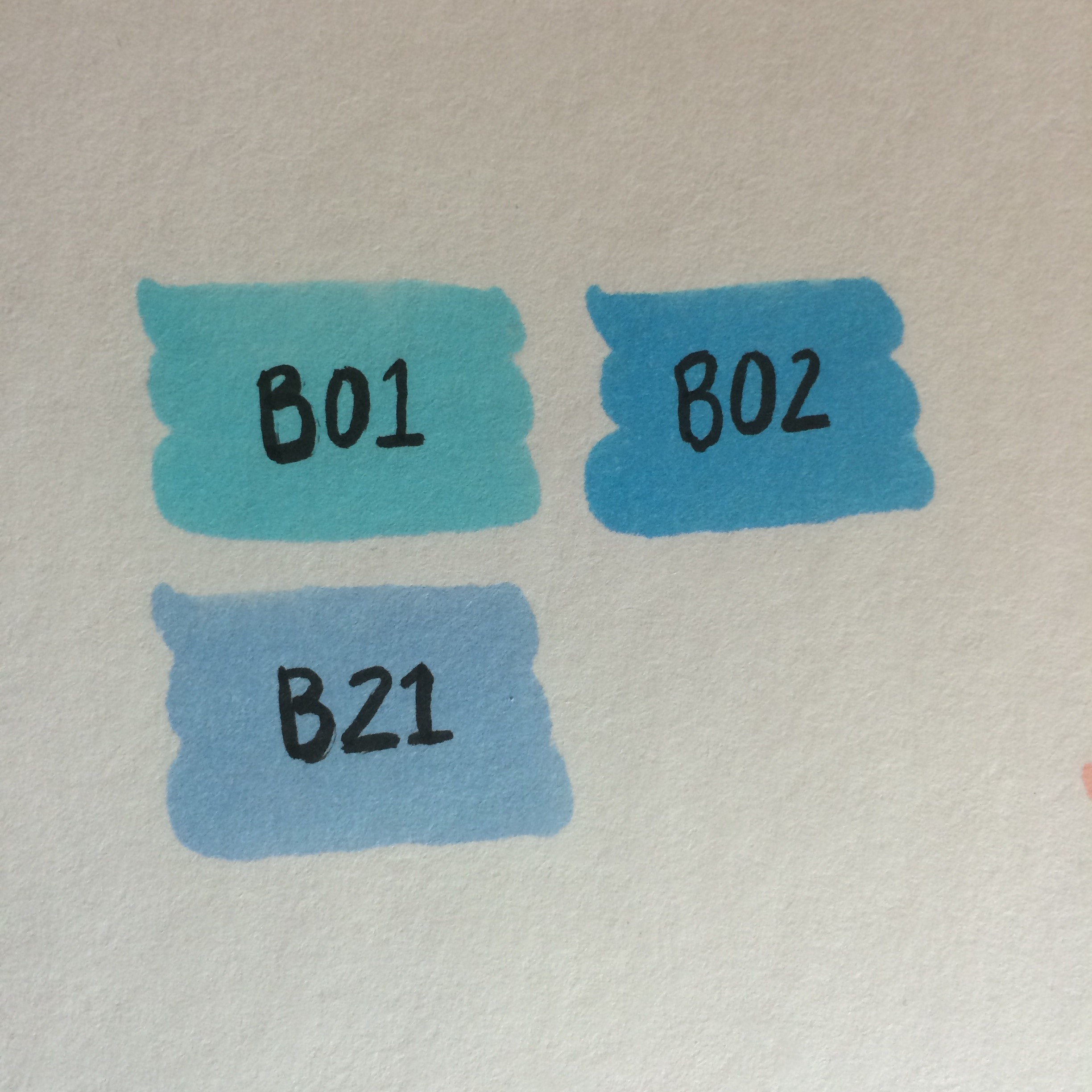 Copic colors B01, B02, and B21