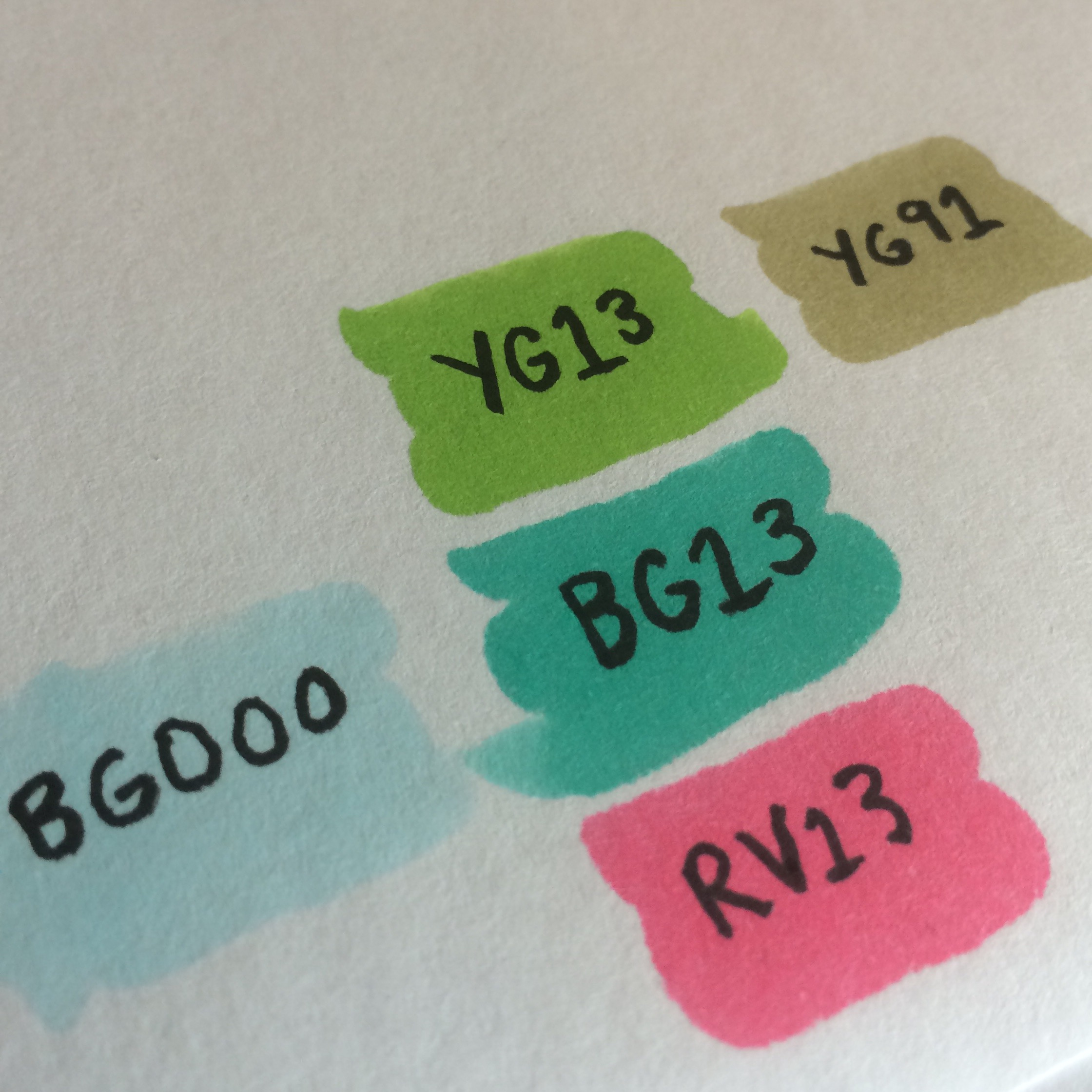 Copic colors YG13, BG13, and RV13